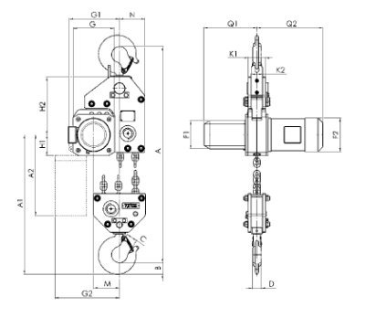Таль электрическая цепная стационарная CPE, CPEF 7.5 т.