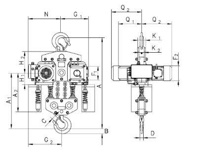 Таль электрическая цепная стационарная CPE, CPEF 10 т.