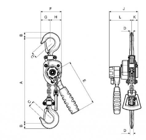 Yalehandy– рычажная таль, г/п 250 – 500 кг