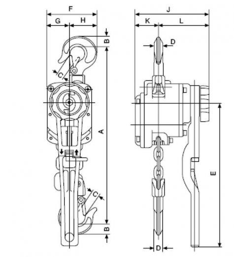Yale AL – рычажная таль, г/п 750 – 3000 кг