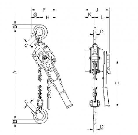 UNOplus ATEX– рычажная таль, г/п 750 – 6000 кг