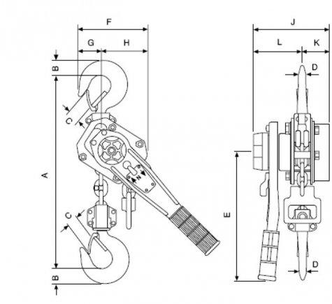 Yale PT – рычажная таль, г/п 800 – 6300 кг